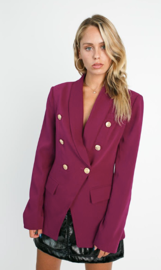 Magenta Double Breasted Blazer