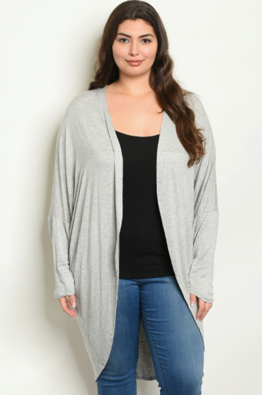 Plus Heather Long Cardigan