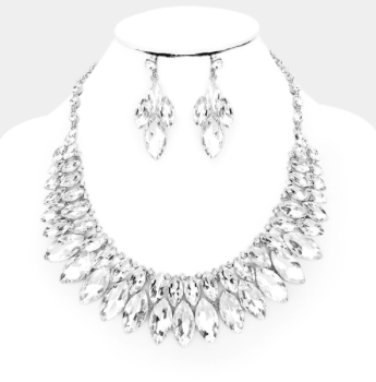 Marquise Crystal Bib Collar Necklace - Clear