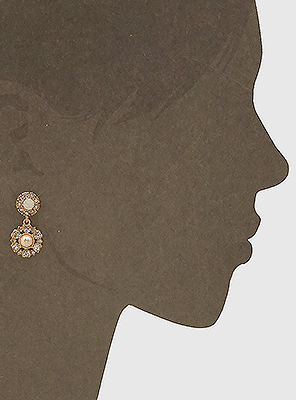 Crystal Pave/Pearl Earrings - Gold