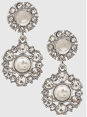 Crystal Pave/Pearl Earrings - Silver