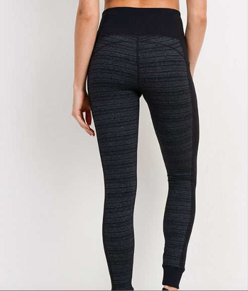 High Waisted Dark Strip Tummy Control Leggings