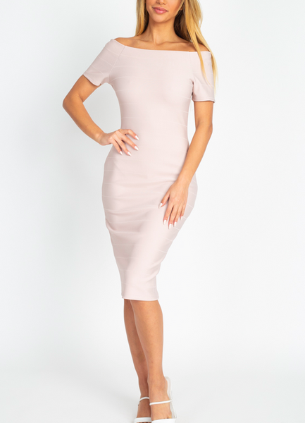 All Blushed Bodycon Midi Dress