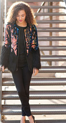 Sequin Faux Fur Coat