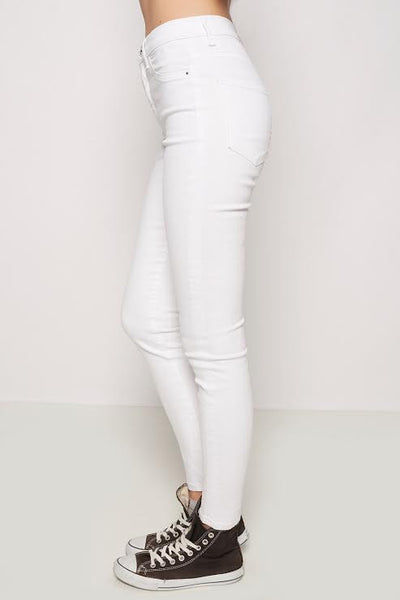 High Rise White Skinny - FashionFunPop, Trendy, fashion, plus, skinny, fitted, ripped, dress, dresses, tops, blazers, women, clothing, bathing suits, swimwear, vacation, stylish, jewelry, accessories, handbags, shoes, boutique, shopping, store, clutch, clutches, handbag, blouses, mom, mommy, tee, tees, jeans,   pants, maxi, maxies, rompers, jumpers, sexy, clearance, new, sales, mika rose, she and sky, &, blvd, in style, esley, gilli, blu pepper, earrings, bracelets, bangles, statement, necklaces, scarfs, gloves, ripped, sweaters, bikini, tankini, one piece, stop staring, gowns, prom dresses, wedding dresses, wedding, prom