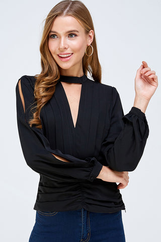 Outside the Box Blouse Top - Black