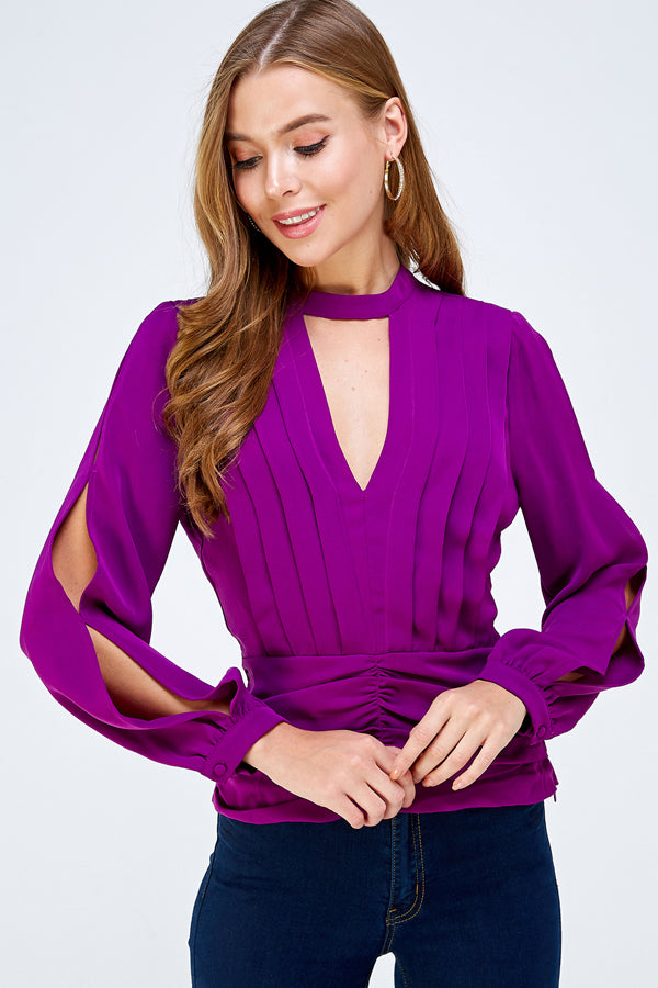 Outside the Box Blouse Top - Purple