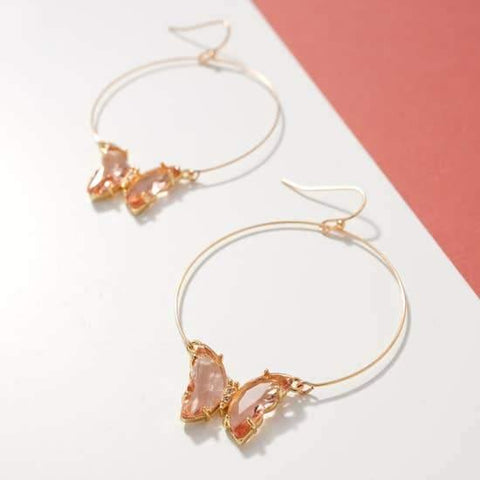 Butterfly Jeweled Hoops, Pink