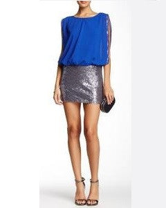 Esley Royal Blue/Silver Sequin Dress