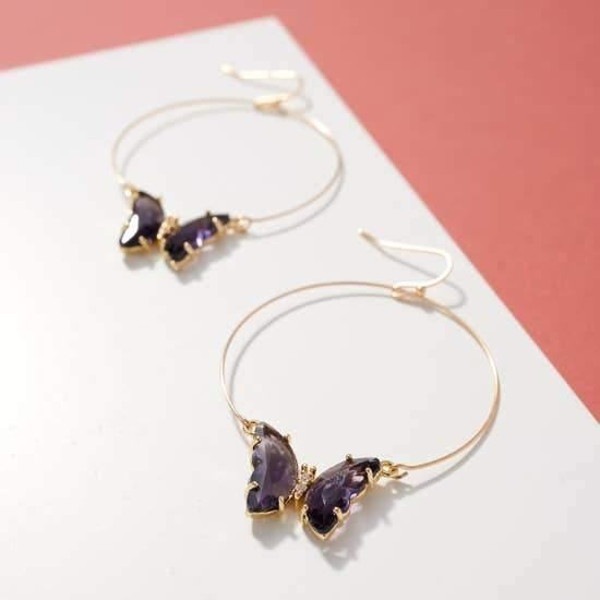 Butterfly Jeweled Hoops, Purple