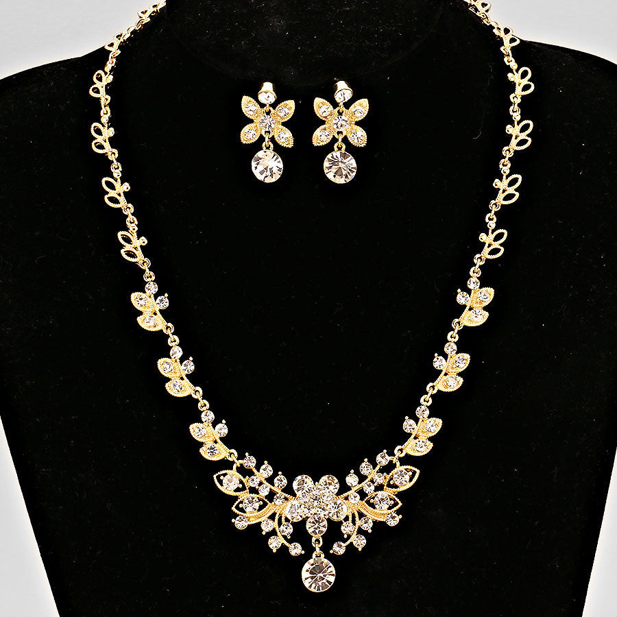Floral Crystal Necklace - FashionFunPop, Trendy, fashion, plus, skinny, fitted, ripped, dress, dresses, tops, blazers, women, clothing, bathing suits, swimwear, vacation, stylish, jewelry, accessories, handbags, shoes, boutique, shopping, store, clutch, clutches, handbag, blouses, mom, mommy, tee, tees, jeans,   pants, maxi, maxies, rompers, jumpers, sexy, clearance, new, sales, mika rose, she and sky, &, blvd, in style, esley, gilli, blu pepper, earrings, bracelets, bangles, statement, necklaces, scarfs, gloves, ripped, sweaters, bikini, tankini, one piece, stop staring, gowns, prom dresses, wedding dresses, wedding, prom