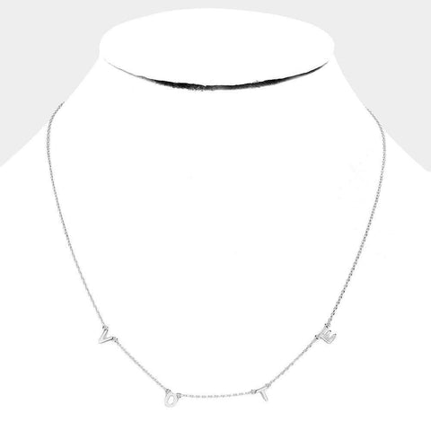 Brass Vote Necklace - Silver