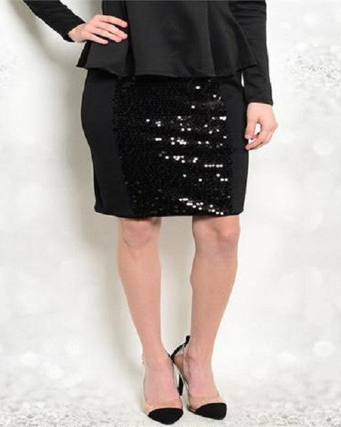 Kitsch black skirt with sequence