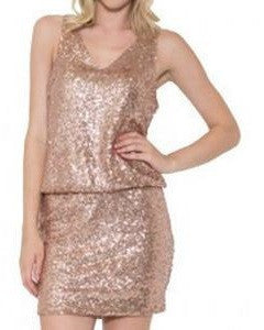 Esley Sleeveless Sequined V-Neck Dress