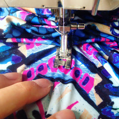 In the studio sewing