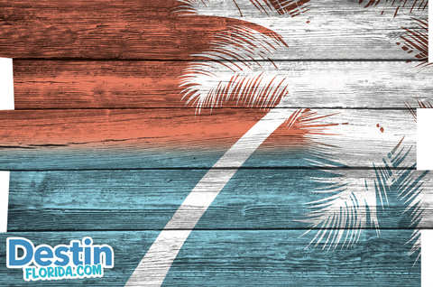 Red White & Blue Palm Tree