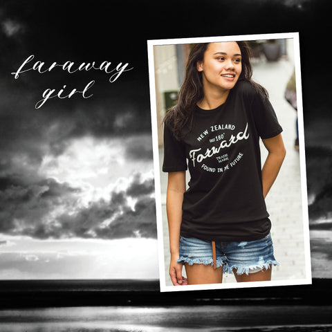 faraway nz store | fast forward into the future black cotton tee