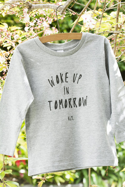 woke up in tomorrow grey marle long sleeve kids tee