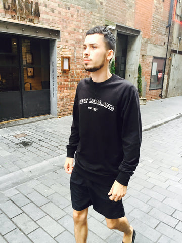 New Zealand black brush sweat | winter fashion gifts Auckland