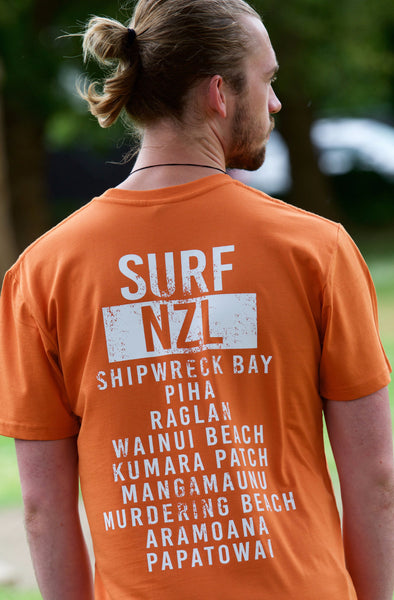 Surf NZL 100% cotton orange tee