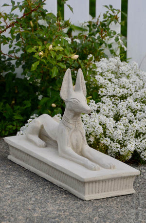 "Add some Ancient Egyptian mystery to your garden setting with a crouching or ""recumbent"" statue of Anubis, a replica of the original found in Tutankhamun's Tomb.  The Anubis resembles the Egyptian pharaoh hound which claims to be among the most ancient breeds that has hardly altered in the last 5,000 years. The jackal god Anubis and its images are prominently features on the tombs of prominent Egyptian pharaohs and was thought to have a protective role in the afterlife."