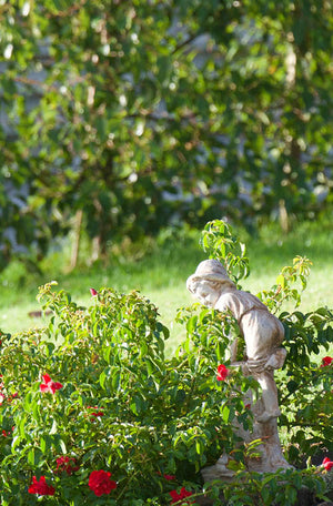 The Faraway Garden Boy with Snail is a small statue depicting a boy climbing a log to escape from a snail. A delightful addition to any garden setting and looks great in our sepia wash for an aged effect.