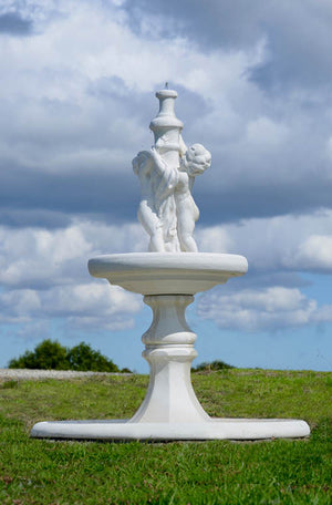 The Faraway Garden Cherub Fountain is a delightful water feature showcasing the classical characters of antiquity.  This five piece fountain works wonderfully on a lawn, in a rose garden or nestled in an herbaceous border. It makes an impressive focal point in a formal flower bed or at the end of a green hedge walk.