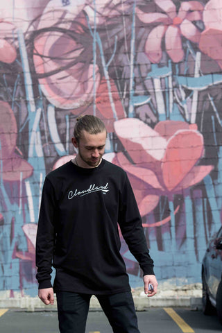 cloudland long sleeve black cotton tee