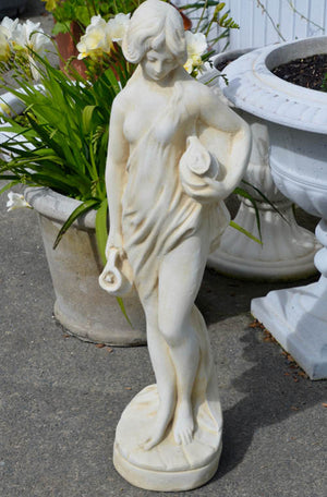 The Faraway Garden Daphne is a graceful garden statue depicting a nymph from Greek mythology who is associated with fountains, wells, springs, streams and other bodies of freshwater. She works wonderfully as a statue raised on a pedestal in a formal flower bed, a rose garden or nestled in an herbaceous bord