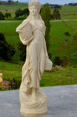 The Faraway Garden Rosalinde is a tall garden statue based on the classical Roman goddess of flowers and spring. This statue works wonderfully as an impressive focal point when raised on a pedestal in a formal flower bed, circular water feature or at the end of a green hedge walk.