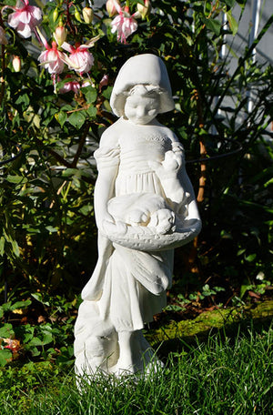 The Faraway Garden Girl with Puppies is a smaller statue depicting a girl looking down at a basket of puppies she's holding. A delightful addition to any garden setting and looks great in our sepia wash for an aged effect.