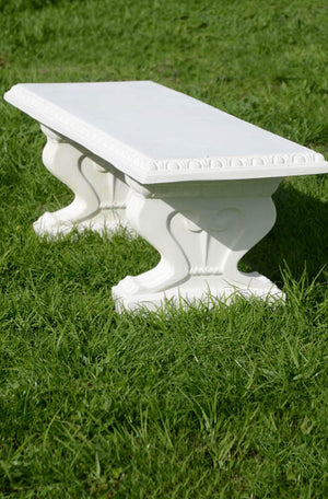 While away the hours on this beautiful, classically proportioned bench seat with decorative moulding on the edge and scrolled seat supports.  A well placed bench is an invitation to explore a garden, a place to restore, and a place to view your garden from a different vantage point. A bench can be around a corner, hidden as a surprise or at the end of a lawn, on a terrace or beside a wall beneath a rambling old rose.