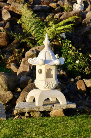 The Faraway Garden Pagoda is a stunning object inspired by the spiritual towers of eastern Asia with elegantly curved roof detail and hexagonal shape. It is perfect for formal gardens and rockeries or to enhance terraces and can be used as a candle holder or a light feature for your property entrance.
