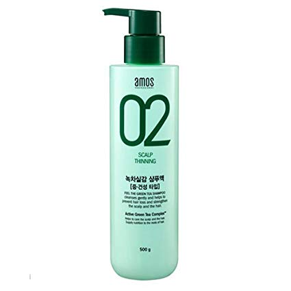 AMOS 02 Scalp Thinning The Green Tea Shampoo for DRY Scalp 500g