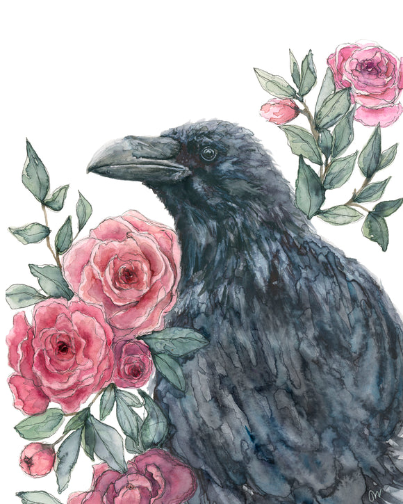 NEW PRINT - Black Bird with Roses