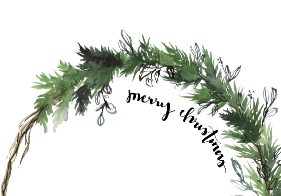 Card - Merry Christmas Half Wreath