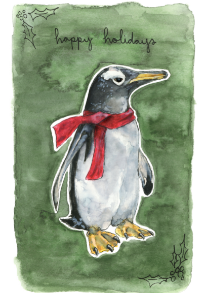 Card - Happy Holidays Penguin