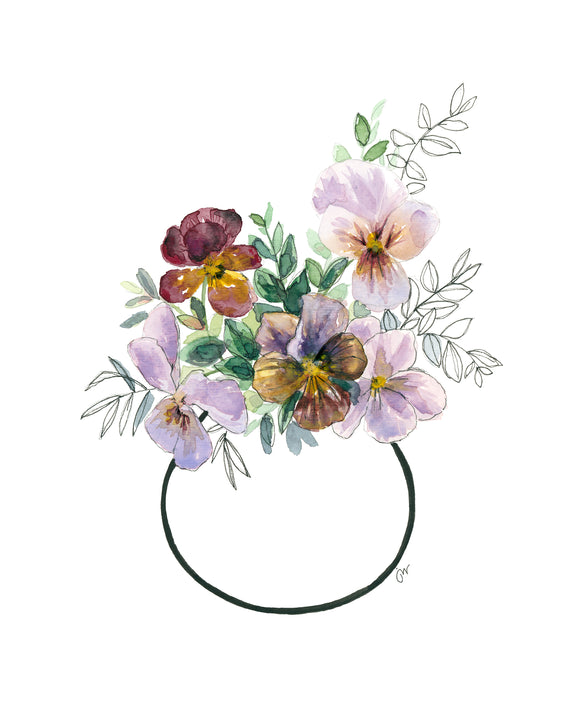 NEW PRINT - Posy of Pansies