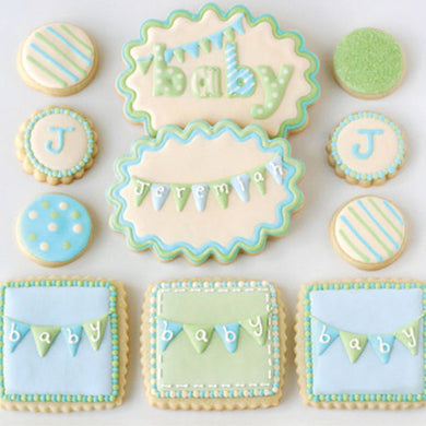 Baby Shower Pennant Cookies