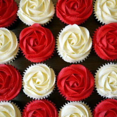 White and Red Roses Cupcakes