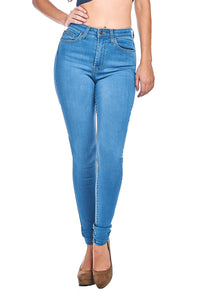 Classic High-Waist Skinny Jeans - Light Blue