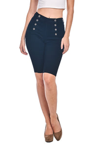 8 Button Bermuda Shorts - Jet Black