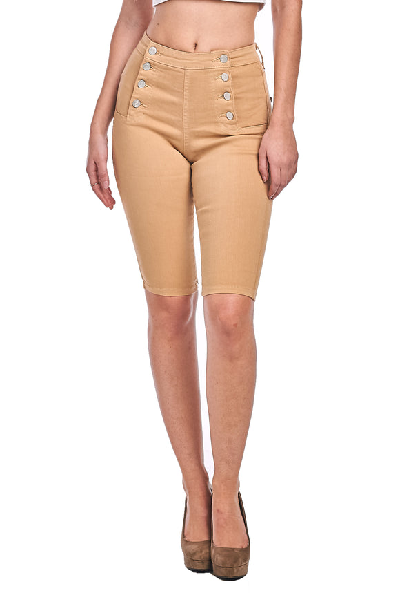 8 Button Bermuda Shorts - Khaki