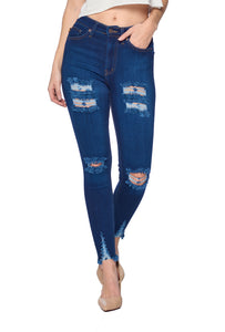 Distressed Ankle Jeans - Dark Blue