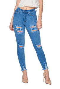 Distressed Ankle Jeans - Light Blue