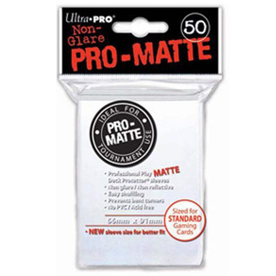 ULTRA PRO Deck Protector Sleeves Pro Matte Non-Glare White Standard 50ct 66 x 91