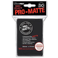 ULTRA PRO Deck Protector Sleeves Pro Matte Non-Glare Black Standard 50ct 66 x 91