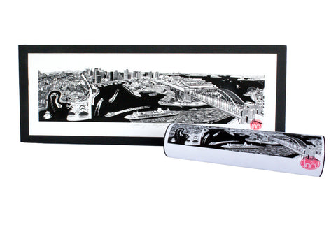 Black and White Hand Drawn Sydney Print