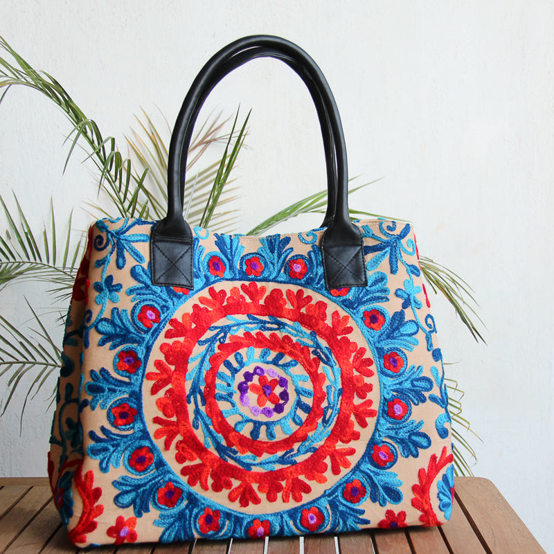 colorful large tote bag with hand embroidery on cotton canvas with black handles