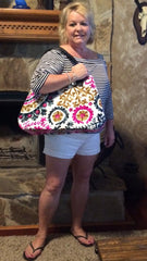 Alleura Atelier excited customer with Cassandra hand embroidered tote bag